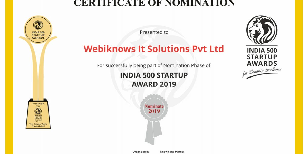 Webiknows IT Solutions Pvt Ltd Selected in India 500 Nomination